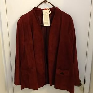 New vtg woman's Jordashe red eather jacket sz 36